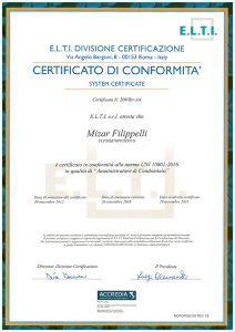 cartificato Elti 2018 Mizar Filippelli
